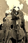 Strings Digital Art Posters - Cellos In The Sky Sepia1 Poster by Rob Hans