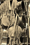 Strings Digital Art Posters - Cellos Sepia Poster by Rob Hans