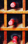 Bottle Cap Collection Posters - Cells with three wine bottles painting Poster by Magomed Magomedagaev