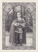 Lute Drawings Metal Prints - Celtic bard Metal Print by Tania Crossingham