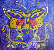 Egg Tempera Prints - Celtic Butterfly Totem Print by Catherine Meyers