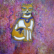 Egg Tempera Prints - Celtic Cat Totem Print by Catherine Meyers