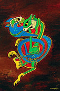 Kevin J Cooper Artwork Paintings - Celtic Cats ONE by Kevin J Cooper Artwork