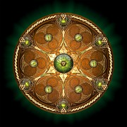 Knotwork Digital Art - Celtic Chieftain Shield - Emerald by Richard Barnes