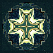 Kaleidoscopic Posters - Celtic Cross Abstract Poster by Zeana Romanovna