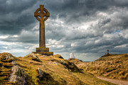 Lighthouse Digital Art Prints - Celtic Cross at Llanddwyn Island Print by Adrian Evans