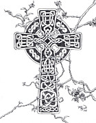 Celtic Cross Drawings - Celtic Cross by Dave Mason
