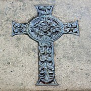 Relief Sculpture Acrylic Prints - Celtic Cross III Acrylic Print by Suzanne Gaff