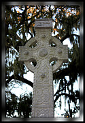 Mossy Trees Prints - Celtic Cross in Savannah Print by Carol Groenen
