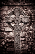 Celtic Knotwork Posters - Celtic Cross Lindisfarne Priory Poster by Tim Gainey