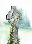 Celtic Knotwork Posters - Celtic Cross with Ivy II Poster by Lynn Quinn