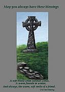 Saint Barbara Paintings - Celtic Cross with Old Irish Blessing by Barbara McDevitt