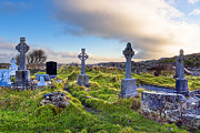 Inishmore Prints - Celtic Crosses in an Old Irish Cemetery Print by Mark E Tisdale