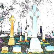 Tombs Digital Art - Celtic Crosses by Pamela Briggs-Luther