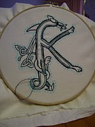 Hand Embroidery Tapestries - Textiles - Celtic Dragon Embroidery K by Donna Huntriss