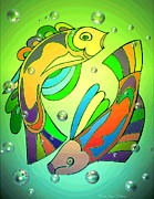 Friendly Digital Art - Celtic Fish  4 by Joyce Dickens