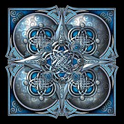 Knotwork Digital Art - Celtic Hearts - Blue and Silver by Richard Barnes