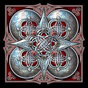Knotwork Digital Art - Celtic Hearts - Red by Richard Barnes