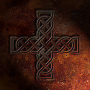 Knotwork Digital Art - Celtic Knotwork Cross 2 Rust Texture by Brian Carson