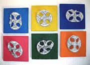 Yellow Sculpture Metal Prints - Celtic Pop Art Metal Print by Flow Fitzgerald