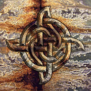 Industrial Mixed Media Prints - Celtic Rock Knot Print by Kristen Fox