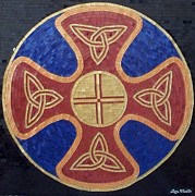 Arte Mosaico Mixed Media Posters - Celtic Shield Poster by Liza Wheeler