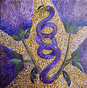 Egg Tempera Paintings - Celtic Snake Totem by Catherine Meyers