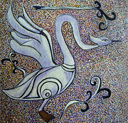 Egg Tempera Prints - Celtic Swan Totem Print by Catherine Meyers