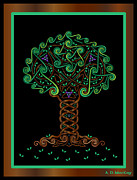 Celtic Spiral Posters - Celtic Tree of Life Poster by Angela Dawn MacKay