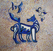 Egg Tempera Prints - Celtic Wolf Totem Print by Catherine Meyers