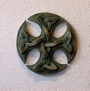Green Reliefs Metal Prints - Celticross 1 Metal Print by Flow Fitzgerald