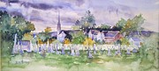 Cemetary Paintings - Cemetary Watercolor by Sally Simon