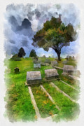 Headstones Digital Art Prints - Cemetery Clouds Print by Amy Cicconi