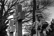 Headstones Framed Prints - Cemetery Crosses Framed Print by Jennifer Lyon