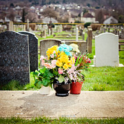 Sympathy Metal Prints - Cemetery Flowers Metal Print by Tom Gowanlock