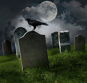 Horror Photo Prints - Cemetery with old gravestones and moon Print by Sandra Cunningham