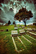 Death Framed Prints - Cemetery with Ominous Sky Framed Print by Amy Cicconi