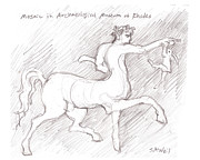 Rhodes Drawings Posters - Centaur and Rabbit Poster by Sharon McNeil