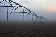 Fog Mist Posters - Center-Pivot Irrigation Poster by Mike  Dawson