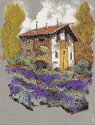 Old Houses Painting Prints - Cento Lavande Print by Guido Borelli