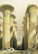 Ancient Ruins Framed Prints - Central Avenue of the Great Hall of Columns Framed Print by David Roberts