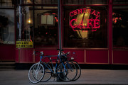 Coffee Drinking Photo Posters - Central Cafe Bicycles Poster by Susan Candelario