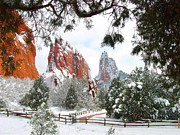 Winter Travel Prints - Central Garden of the Gods after a Fresh Snowfall Print by John Hoffman