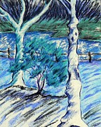 Park Scene Pastels Prints - Central Park Blues Print by Elizabeth Fontaine-Barr