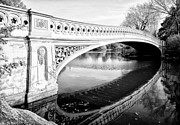 Bow Bridge Digital Art Prints - Central Park Bridges Bow Bridge Spanning Lake Print by Digital Reproductions