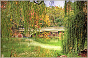Willow Lake Posters - Central Park foliage with bridge Poster by Geri Scull