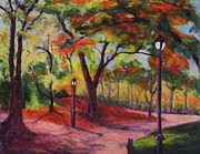 New York City Pastels Prints - Central Park in November Print by Marion Derrett