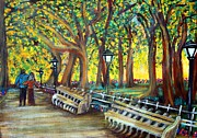 Couples Painting Prints - Central Park Print by Laura Barbosa