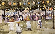 Crowds Paintings - Central Park  New York City  July Fourth  by Maurice Prendergast