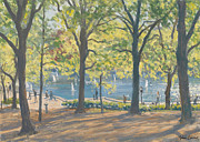 Reflecting Trees Paintings - Central Park New York by Julian Barrow
